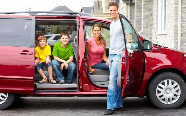 family at car